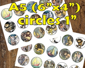 30 Where The Wild Thigs Are Digital Party Stickers Circles size 1'' sheet A5 (4''x 6'') Bottle Cap images Cupcake Toppers Disney