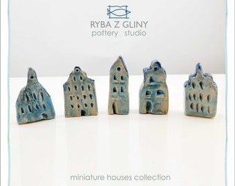 Five Houses - miniature pottery houses, Ceramic houses, Small clay houses, Tiny house