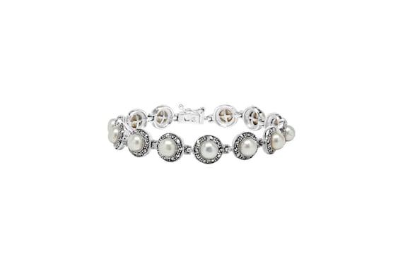 925 Sterling Silver Marcasite Pearl Bracelet