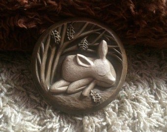 Cute Vintage Rustic Pottery Plaque Sleeping Deer by Richard Fisher Reproduced from Original Carving!