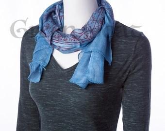 om yoga meditation scarf blue & red