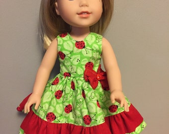 Lady bugs and green for 14.5 inch dolls