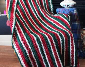Christmas stripes afghan