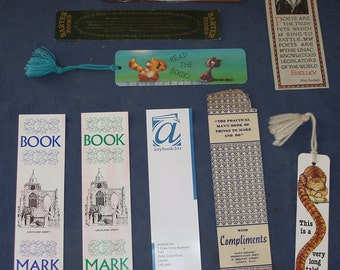 Small Collection of Card or Paper Bookmarks - Cats, Places, Promotional, other