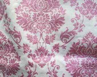 Damask Glitter Pink Fabric, Pink Glitter Fabric, Girl Nursery Fabric, Damask Pink, Floral Pink Fabric