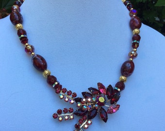 1950's Beautiful Deep Red Juliana Style Navette Necklace