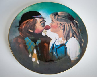 Chuck Oberstein - Kiss For A Clown VINTAGE collectors plate - Hand Signed Limited Edition