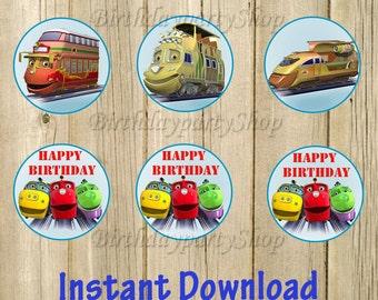 Chuggington Cupcake Toppers , Chuggington Birthday Circles, Instant Download, Digital File