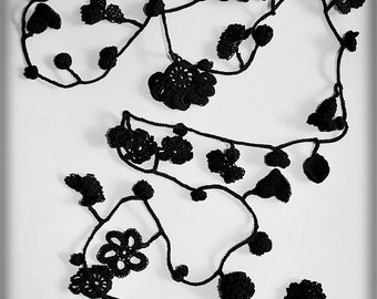 FREE SHIPPING cotton crochet necklace Absolute black