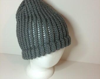 Gray Crochet Winter Hat