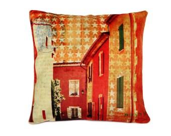 Decorative Art Pillow Cover, italy, orange houses, photo art, velvet pillow cushion cover, stars, invisible zipper