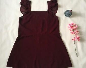 Babydoll/Nightie/Nightdress/Chemise/Nightwear - Burgundy/Maroon Chiffon - Handmade Vintage Style - Made to order