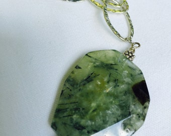 Rutilated Quartz and Silver Chain Necklace
