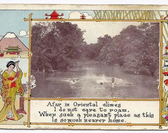 Old Vintage Photo Postcard, Japanese Art