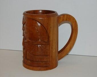 Monkeypod Wood Large Tiki Drinking Stein