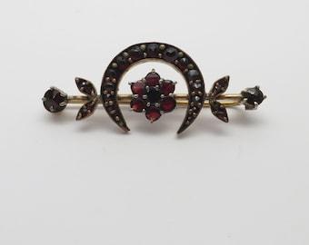 Antique Bohemian Garnet Crescent Cluster Bar Pin