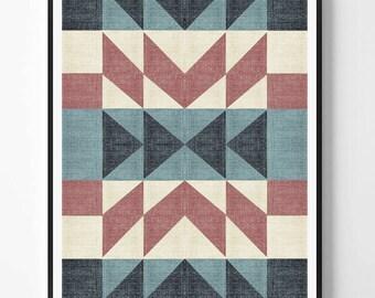 Aztec Print, Aztec Art, Western Art Decor, Mexican Rug, Mexico, Tribal