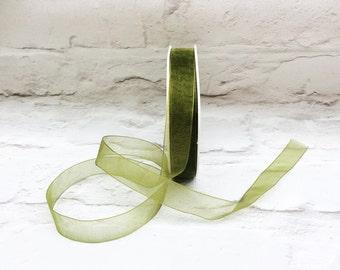 Organza Ribbon, 1 Meter Sheer Woven Edge Organza Ribbon, Jewellery Making, 15mm Olive Green Ribbon, Gift Wrap, Etsy Shop Supplies.