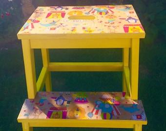 Children's wooden bench/stool combo