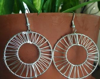 Silver Wire Wrapped Hoop Dangle Earrings/Hoop Earrings/Silver Hoop Earrings/Mother's Day Gift/Unique Earrings/Wire Wrapped Earrings