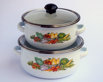 Cute pair of vintage veggie design enamel pans with lids