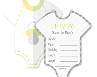 Baby shower game set – 8 pack – unisex – Onesies - Mia-Félice Decorations