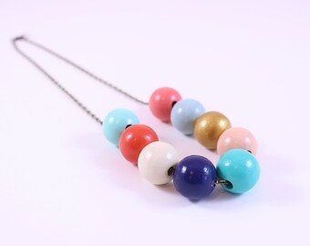 Vintage Vibe: Modern Navy, Coral, Aqua, Gold Colorshift Gradient Ombre Statement Necklace For Wedding Colors Mothers Day or Girlfriend Gift