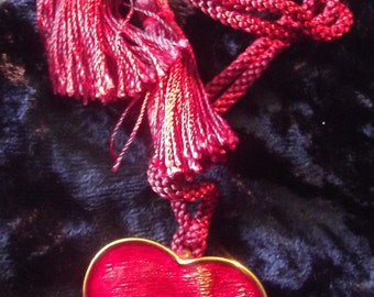 YSL red enamel heart pendant / brooch