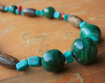 Masculine Malachite and Turquoise Stone Necklace