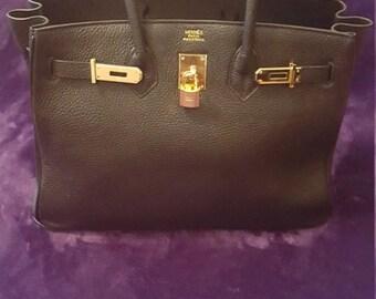 ON SALE!!! Birkin Style Hermes Black 35cm Togo Birkin Bag Gold Hardware