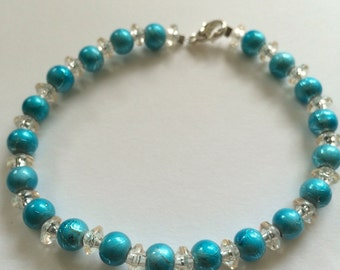 Bracelet  light blue , light blue beads bracelet