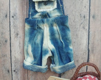 bleached denim overall shorts