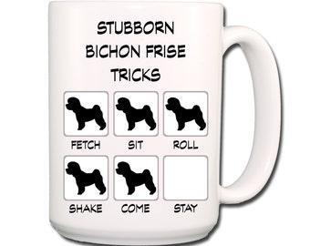 Bichon Frise Stubborn Tricks Large 15 oz Coffee Mug