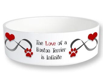 Boston Terrier Infinite Love Dog Bowl 6 inch Diameter Printed Both Sides