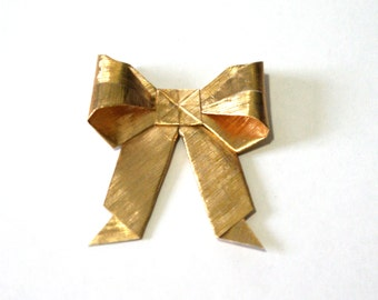 Gold Bow Necklace- Origami