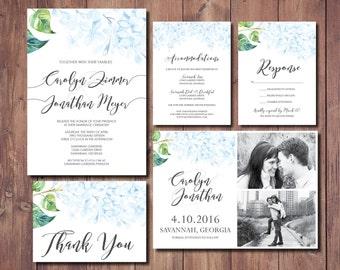 Printable Wedding Invite Suite, Botanical Garden Wedding Invitation, Hydrangea Wedding Invitation Suite, Blue Floral Wedding Invitation