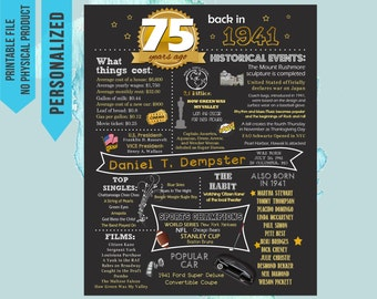 75th Birthday Poster, 75th Birthday Chalkboard, 75th Anniversary Poster, 75th Birthday Gift, back in 1941, 75 years ago, born in 1941