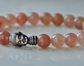 Anxiety, Stress, Pink Lepidolite Gemstone Bracelet,Healing Chakra Bracelet, Meditation Mala Bracelet, Buddha Calming Bracelet, Japa Mala