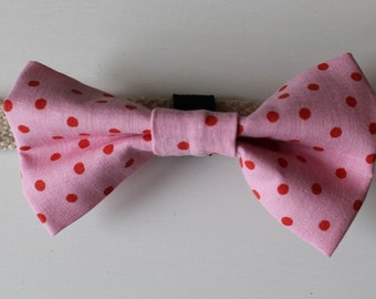 Pink Spot Dog Bow Tie