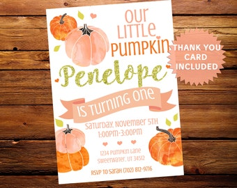 Little Pumpkin Birthday Invite Invitation Fall Party Pink Gold Digital Personalized 5x7