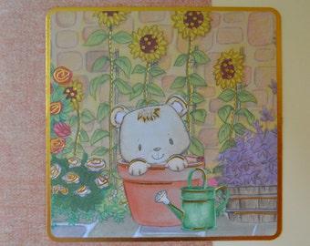 Bear in a Plant Pot Card