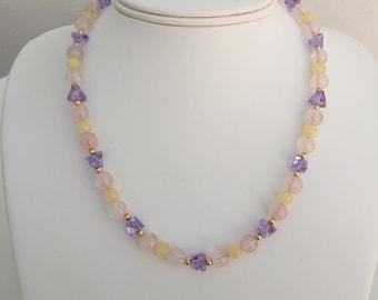 Honey Jasper, Rose Quartz, Lavender Glass, 14K Gold-Filled Beaded Necklace