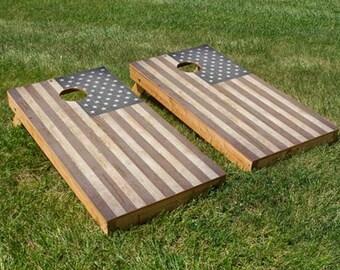 Wooden American Flag Cornhole Board Set