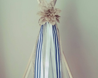 Burlap and navy blue teepee tie