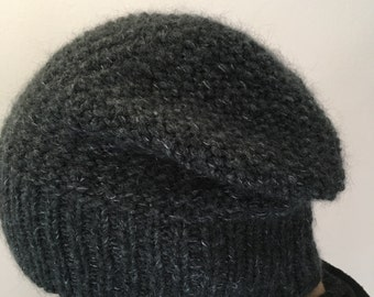 Chunky Hat, Hand Knitted ladies hat, Women Hats, Grey color, Cashmere blended
