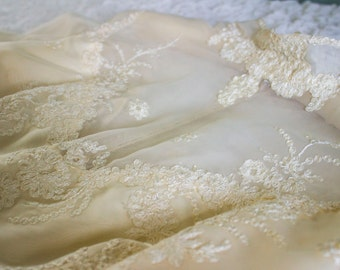 Stunning Vintage Designer William Cahill Of Beverly Hills Lace Edwardian Wedding Dress Gown Small