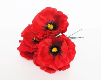 "10 Red Poppies Artificial Flowers Silk Poppy 4.3"" Flower Wedding Anemones Supplies Faux Fake Anemone"