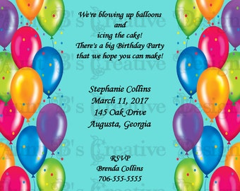 Balloon Birthday Invitation, Balloons Birthday Invitation, Adult or Teenager Birthday Invitation