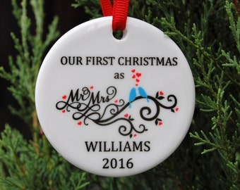 Custom Ornament - Our First Christmas ornament - Newly Weds Ornament