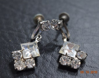 Silver Tone Rhinestone Earrings, Screw Back